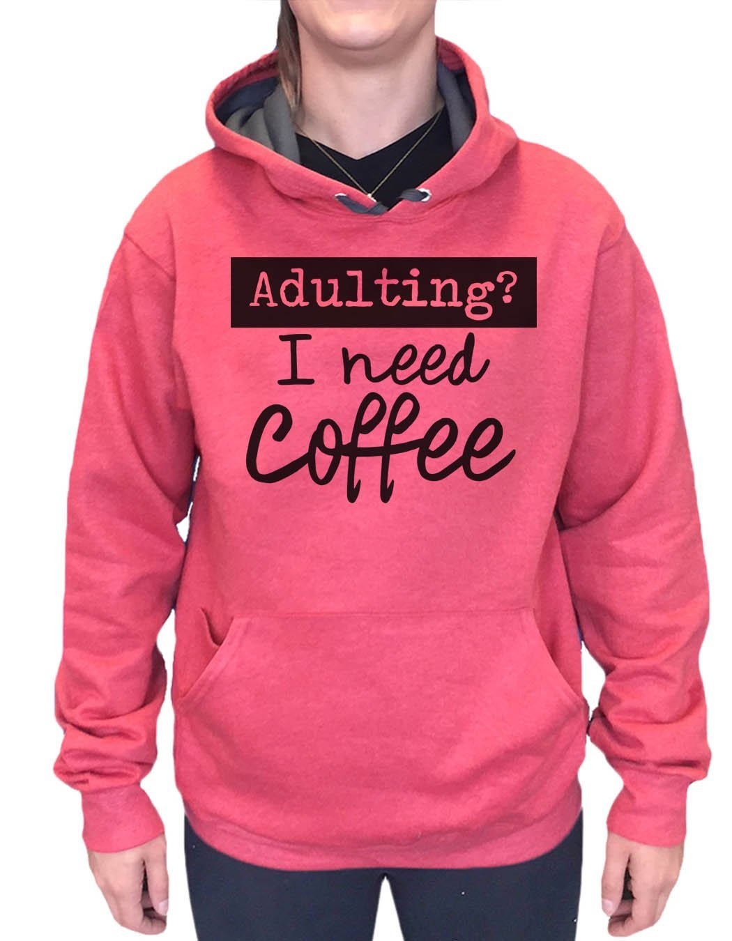 UNISEX HOODIE - Adulting? I Need Coffee - FUNNY MENS AND WOMENS HOODED SWEATSHIRTS - 2207 Funny Shirt Small / Cranberry Red