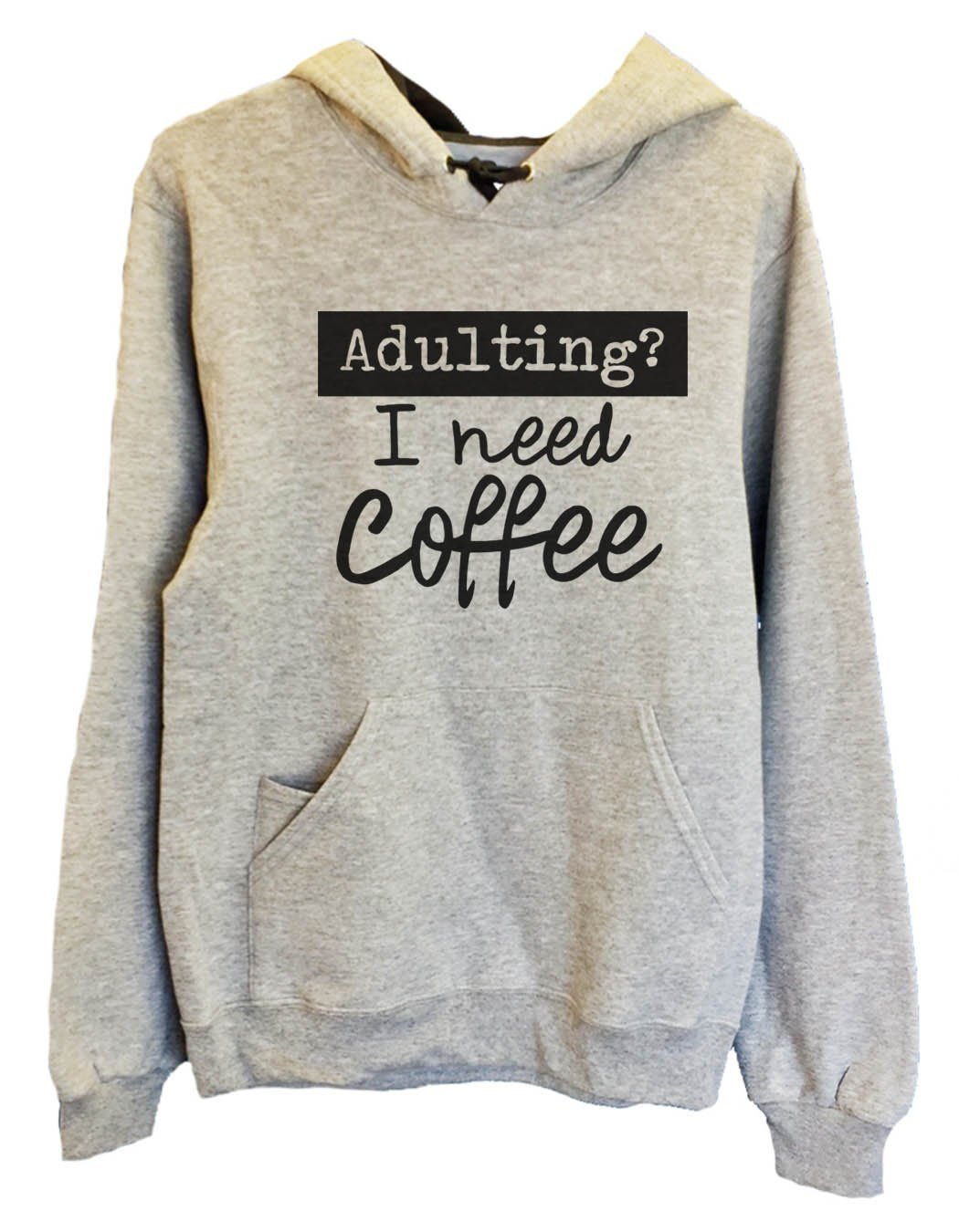UNISEX HOODIE - Adulting? I Need Coffee - FUNNY MENS AND WOMENS HOODED SWEATSHIRTS - 2207 Funny Shirt Small / Heather Grey