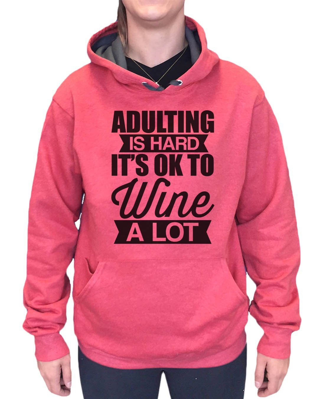 UNISEX HOODIE - Adulting Is Hard It's Ok To Wine A Lot - FUNNY MENS AND WOMENS HOODED SWEATSHIRTS - 2129 Funny Shirt Small / Cranberry Red