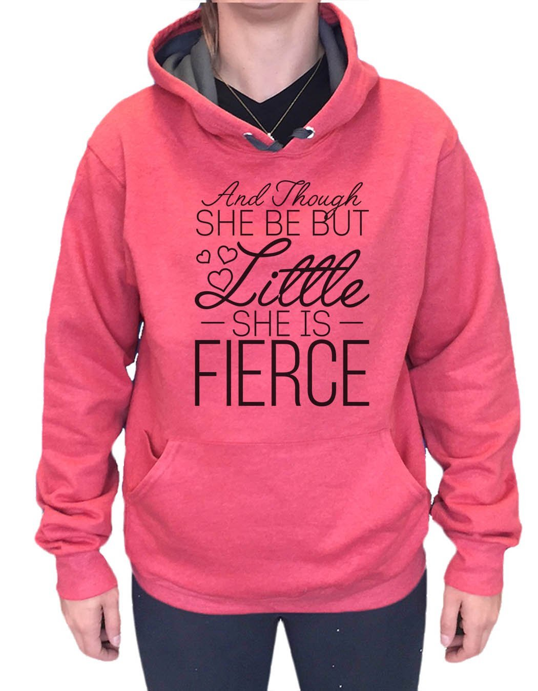 UNISEX HOODIE - And Though She Be But Little She Is Fierce - FUNNY MENS AND WOMENS HOODED SWEATSHIRTS - 2144 Funny Shirt Small / Cranberry Red