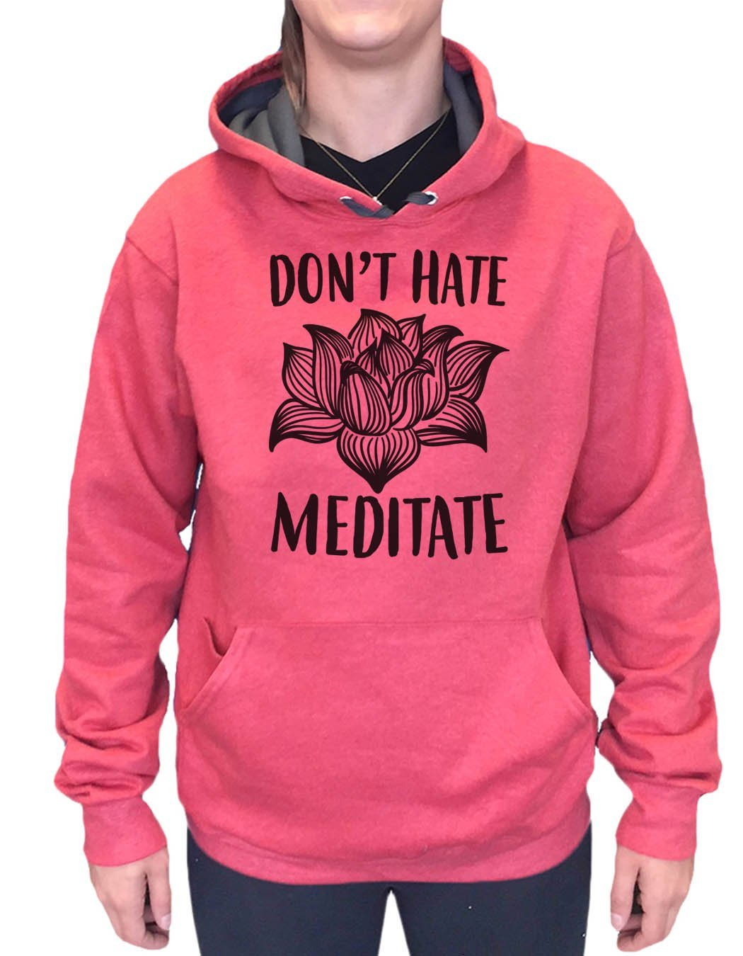 UNISEX HOODIE - Don't Hate Meditate - FUNNY MENS AND WOMENS HOODED SWEATSHIRTS - 2114 Funny Shirt Small / Cranberry Red