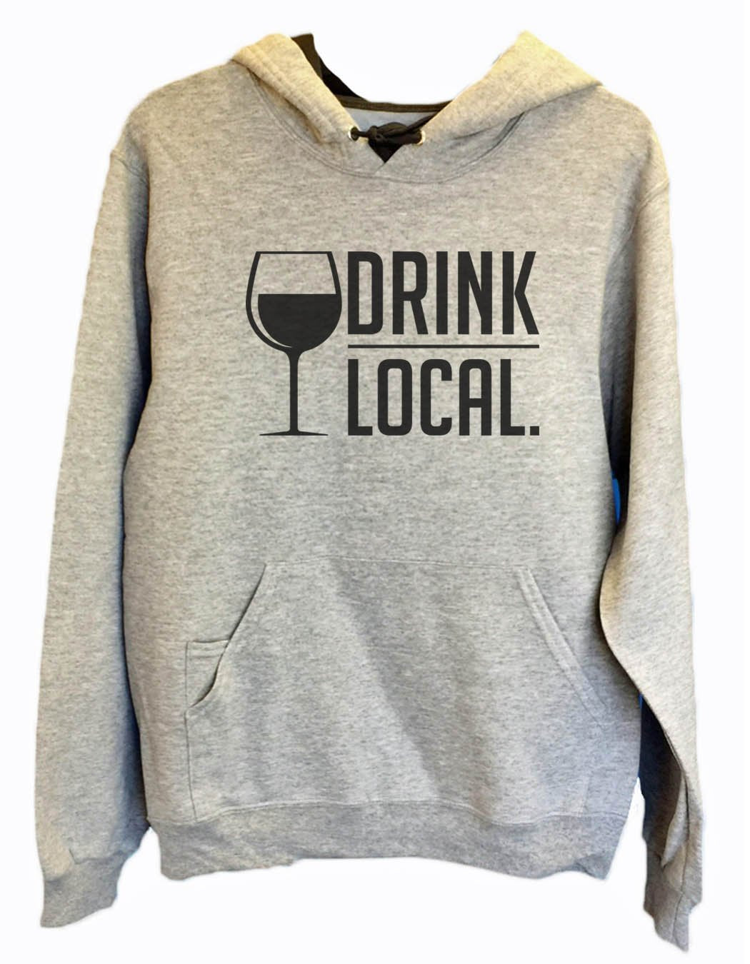 UNISEX HOODIE - Drink Local. - FUNNY MENS AND WOMENS HOODED SWEATSHIRTS - 2157 Funny Shirt Small / Heather Grey