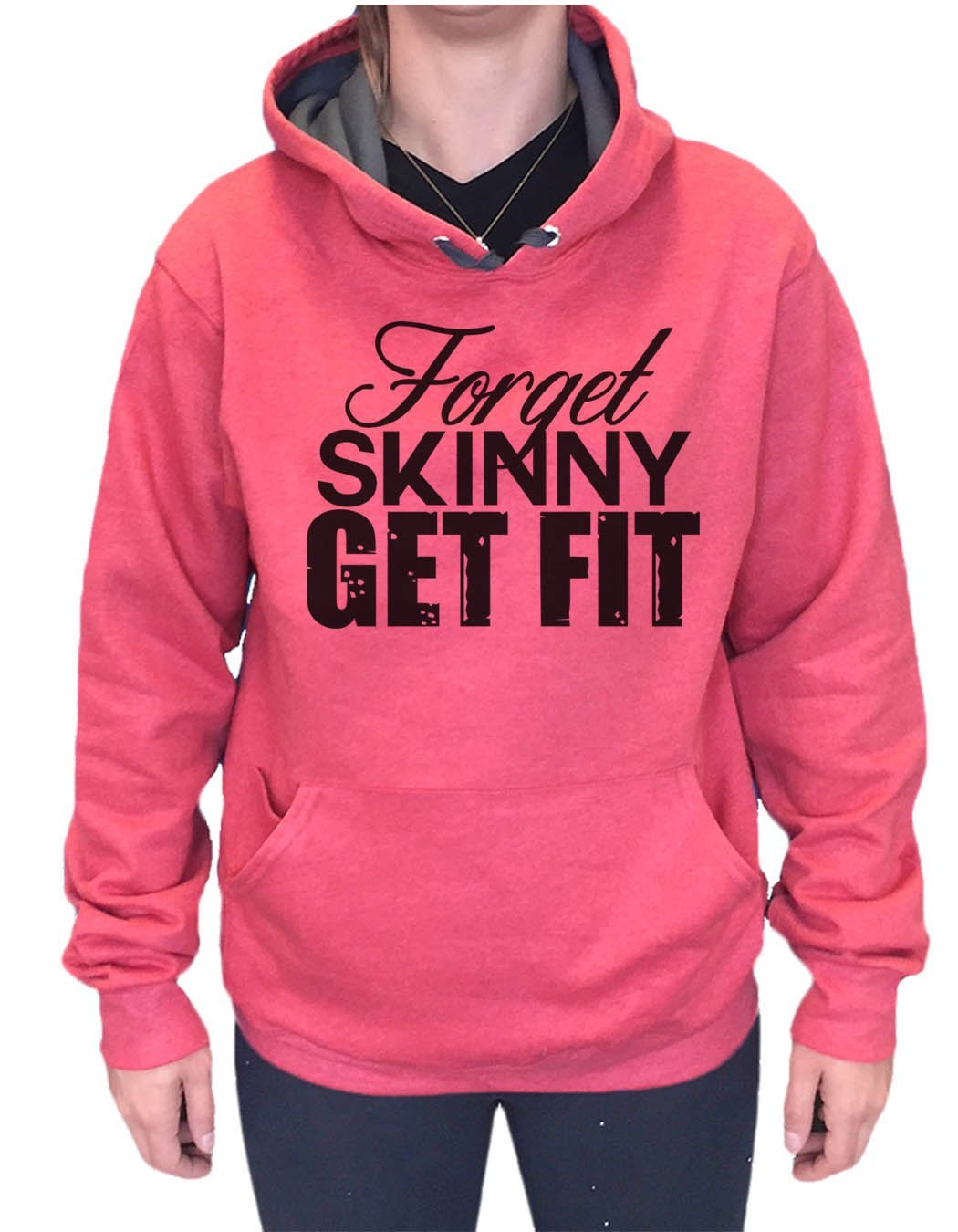 UNISEX HOODIE - Forget Skinny Get Fit - FUNNY MENS AND WOMENS HOODED SWEATSHIRTS - 2130 Funny Shirt Small / Cranberry Red