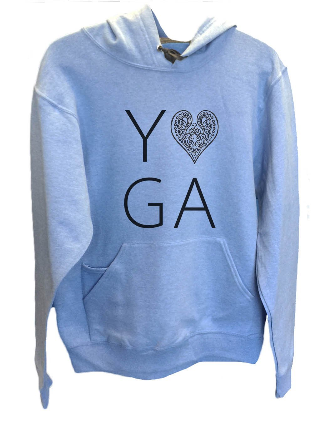 UNISEX HOODIE - Heart I Love Yoga - FUNNY MENS AND WOMENS HOODED SWEATSHIRTS - 2183 Funny Shirt Small / North Carolina Blue