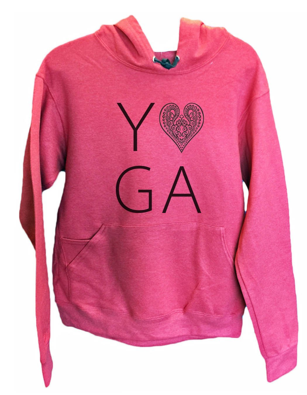 UNISEX HOODIE - Heart I Love Yoga - FUNNY MENS AND WOMENS HOODED SWEATSHIRTS - 2183 Funny Shirt Small / Cranberry Red