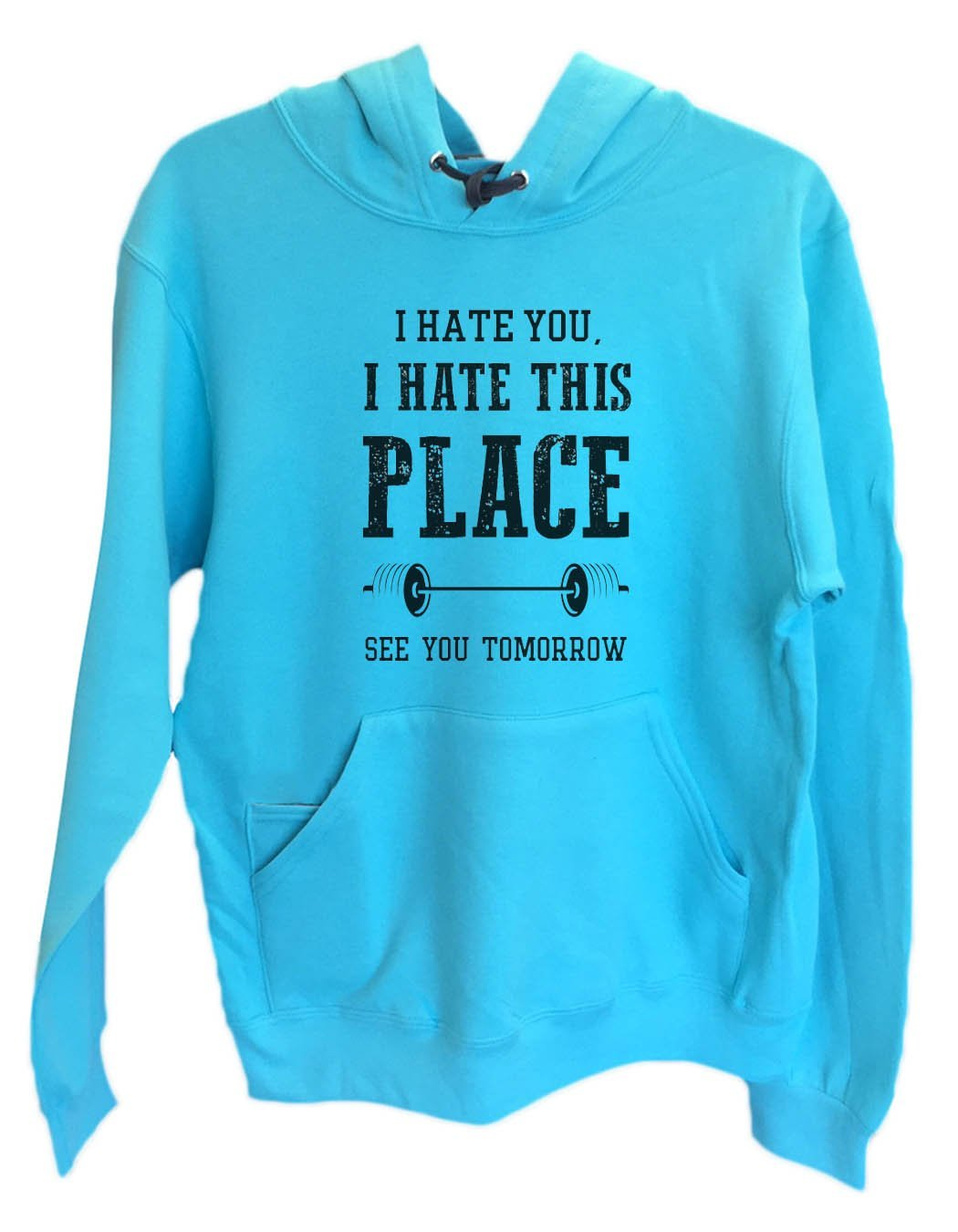 UNISEX HOODIE - I hate you, I hate this place See you tomorrow - FUNNY MENS AND WOMENS HOODED SWEATSHIRTS - 857 Funny Shirt Small / Turquoise