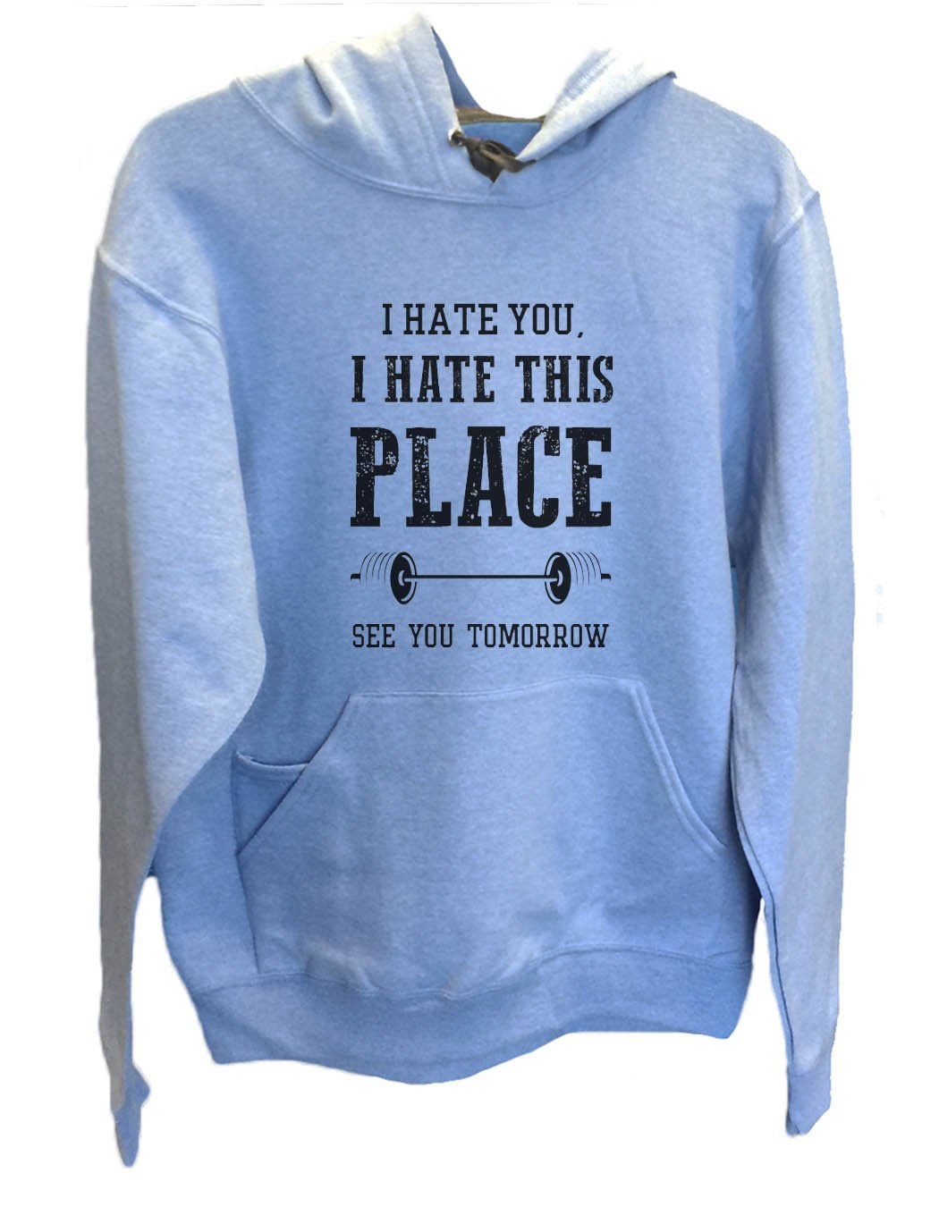 UNISEX HOODIE - I hate you, I hate this place See you tomorrow - FUNNY MENS AND WOMENS HOODED SWEATSHIRTS - 857 Funny Shirt Small / North Carolina Blue