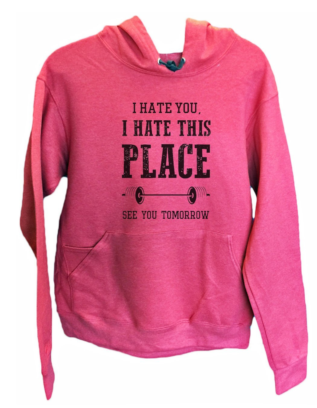 UNISEX HOODIE - I hate you, I hate this place See you tomorrow - FUNNY MENS AND WOMENS HOODED SWEATSHIRTS - 857 Funny Shirt Small / Cranberry Red