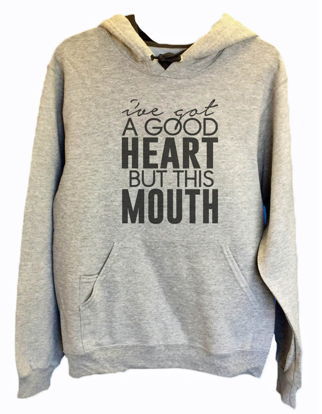 UNISEX HOODIE - I've Got A Good Heart But This Mouth - FUNNY MENS AND WOMENS HOODED SWEATSHIRTS - 2148 Funny Shirt Small / Heather Grey