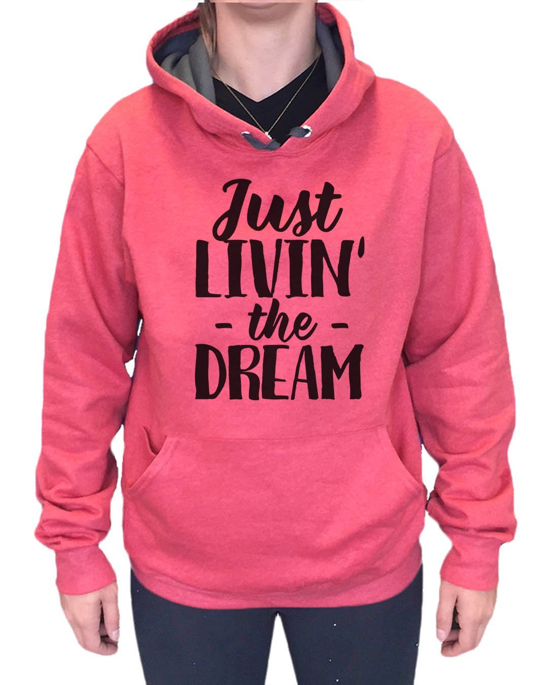 UNISEX HOODIE - Just Livin' The Dream - FUNNY MENS AND WOMENS HOODED SWEATSHIRTS - 2177 Funny Shirt Small / Cranberry Red