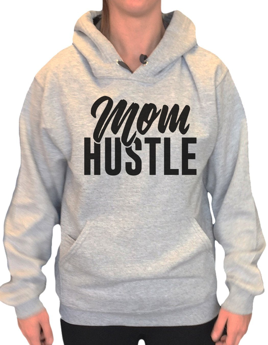 UNISEX HOODIE - Mom Hustle - FUNNY MENS AND WOMENS HOODED SWEATSHIRTS - 2178 Funny Shirt Small / Heather Grey