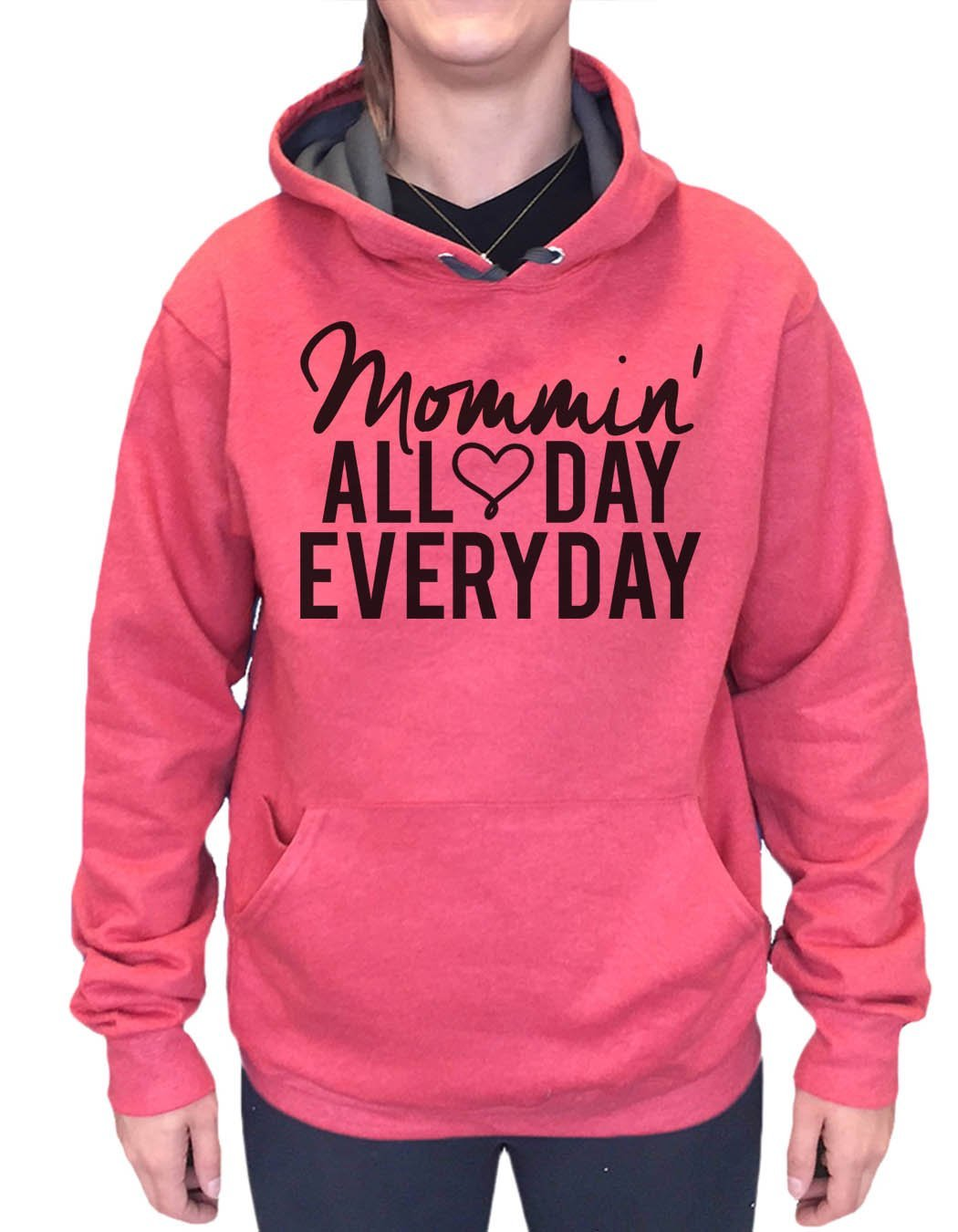 UNISEX HOODIE - Mommin' All Day Every Day - FUNNY MENS AND WOMENS HOODED SWEATSHIRTS - 2143 Funny Shirt Small / Cranberry Red