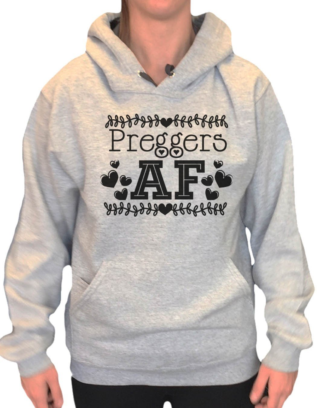 UNISEX HOODIE - Preggers Af - FUNNY MENS AND WOMENS HOODED SWEATSHIRTS - 2255 Funny Shirt Small / Heather Grey