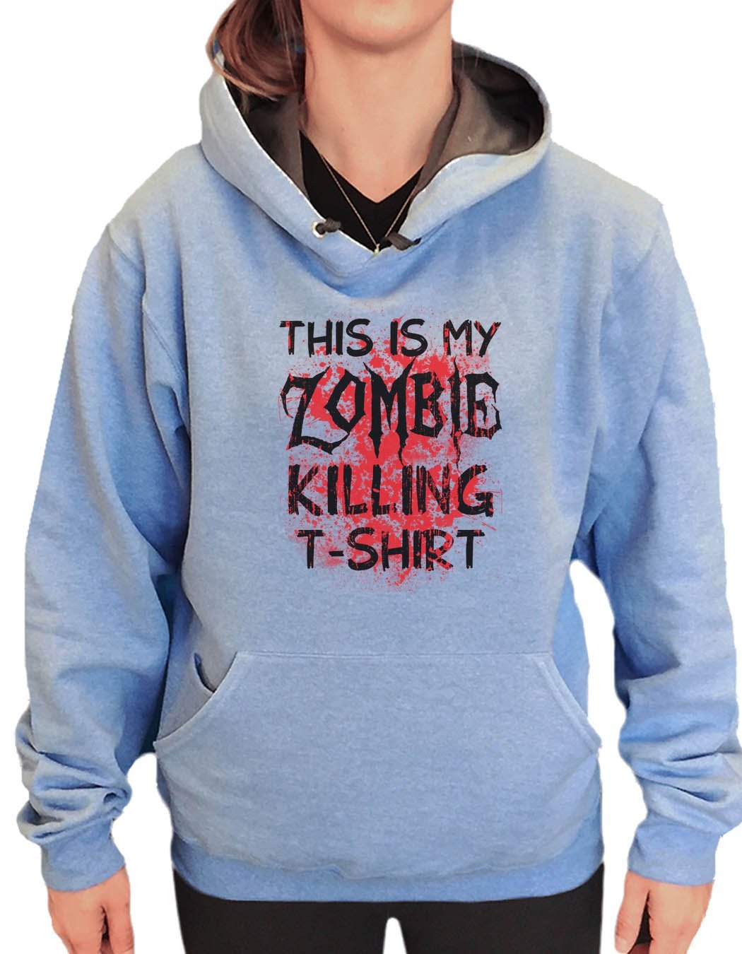 UNISEX HOODIE - This Is My Zombie Killing T-Shirt - FUNNY MENS AND WOMENS HOODED SWEATSHIRTS - 2312 Funny Shirt Small / North Carolina Blue