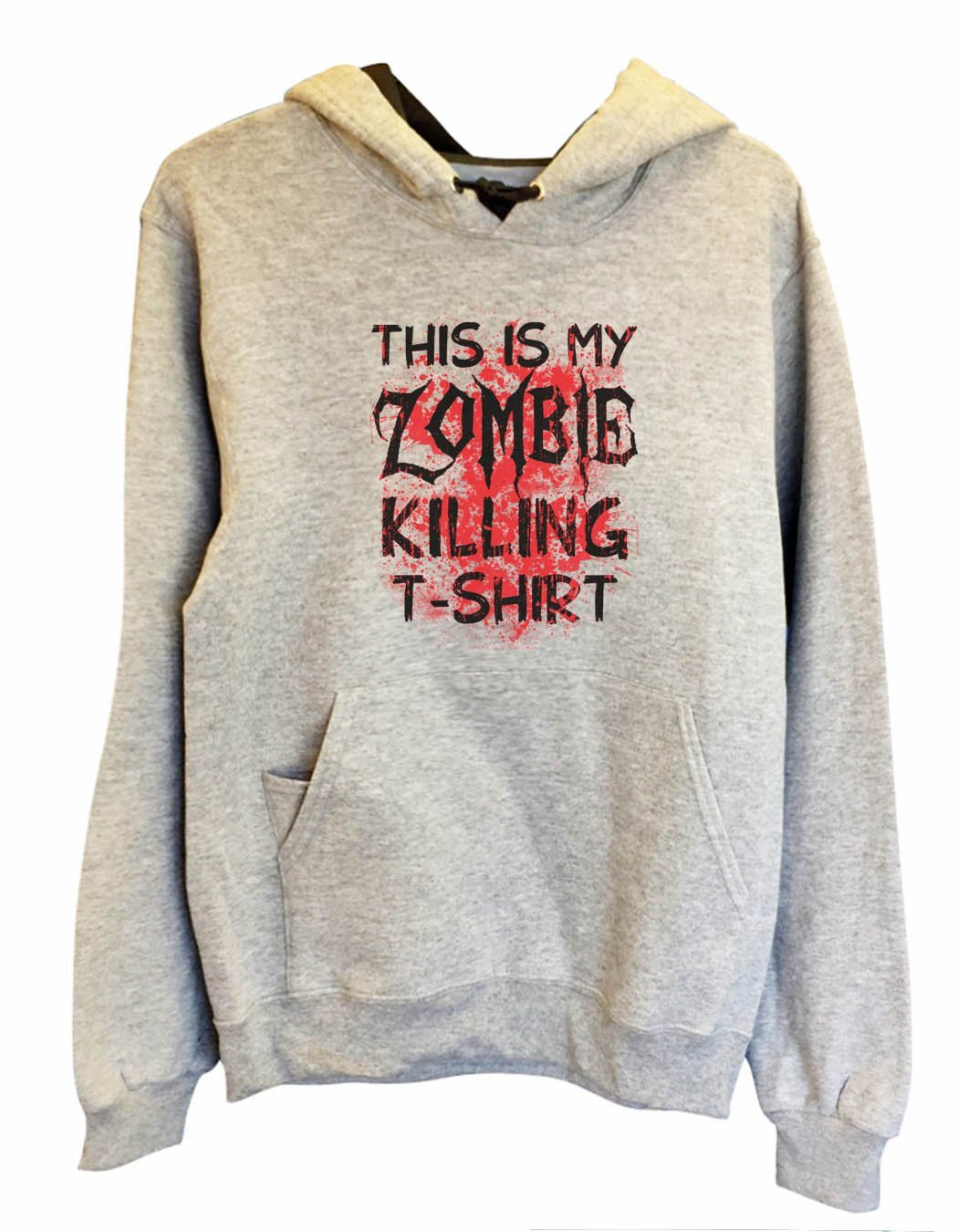 UNISEX HOODIE - This Is My Zombie Killing T-Shirt - FUNNY MENS AND WOMENS HOODED SWEATSHIRTS - 2312 Funny Shirt Small / Heather Grey