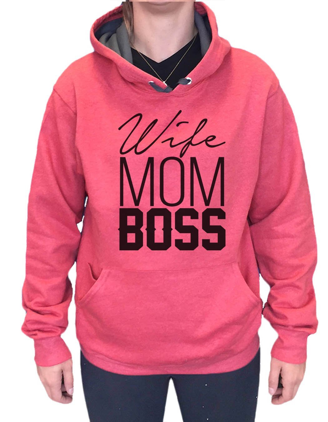 UNISEX HOODIE - Wife Mom Boss - FUNNY MENS AND WOMENS HOODED SWEATSHIRTS - 2156a Funny Shirt Small / Cranberry Red