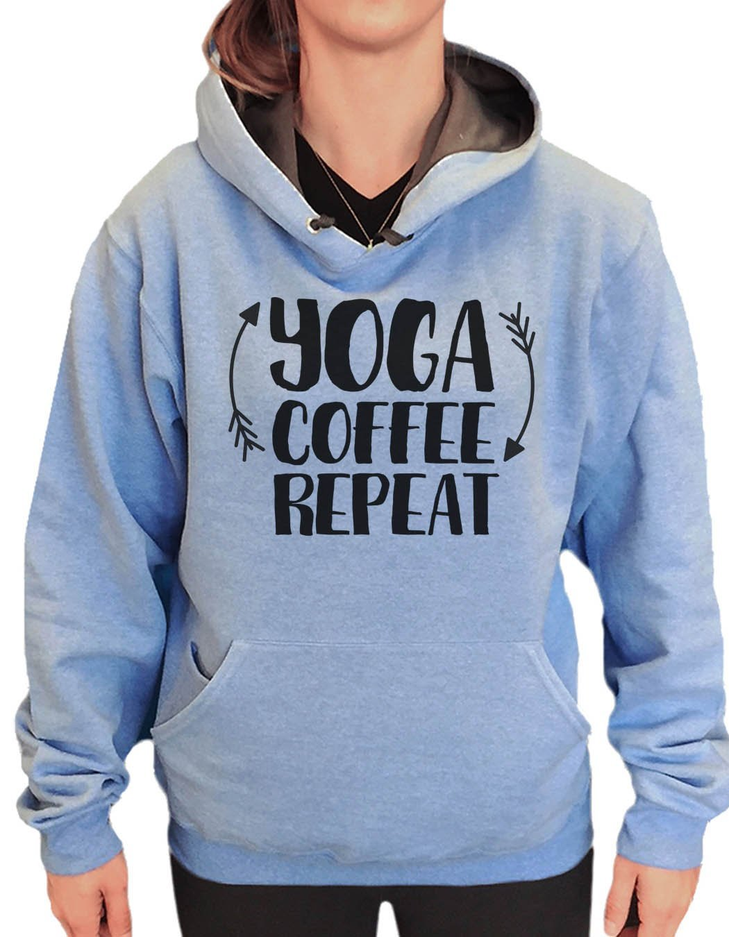 UNISEX HOODIE - Yoga Coffee Repeat - FUNNY MENS AND WOMENS HOODED SWEATSHIRTS - 2154 Funny Shirt Small / North Carolina Blue