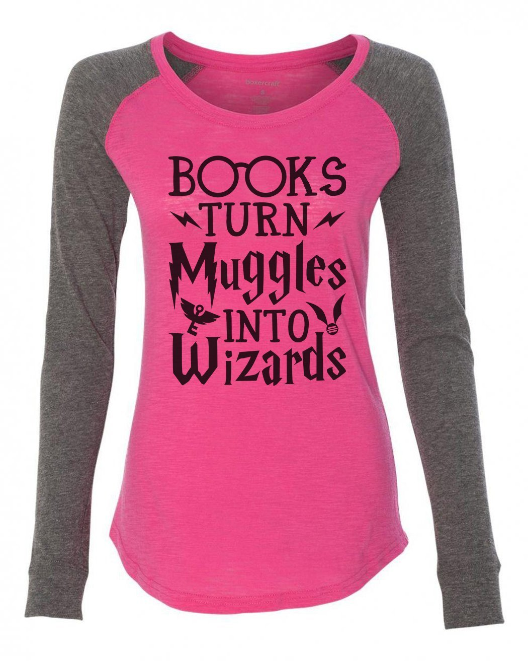 "Womens ""Books Turn Muggles Into Wizards"" Long Sleeve Elbow Patch Contrast Shirt-BurnoutTankTops.com"