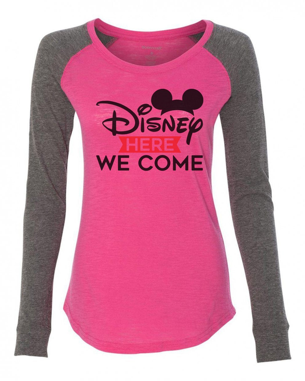 "Womens ""Disney Here We Come"" Long Sleeve Elbow Patch Contrast Shirt-BurnoutTankTops.com"
