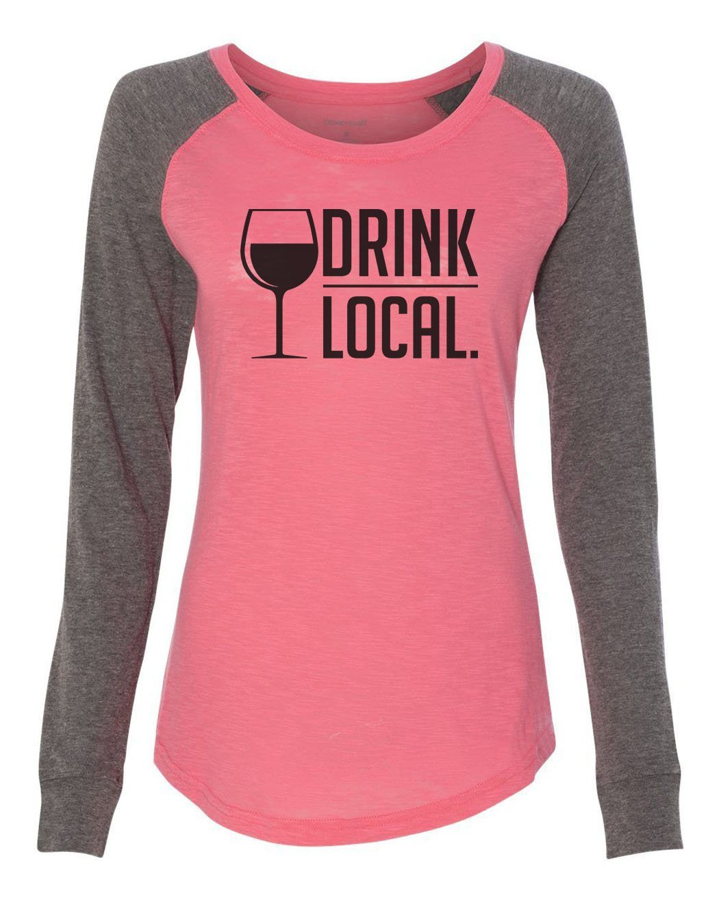 "Womens ""Drink Local."" Long Sleeve Elbow Patch Contrast Shirt-BurnoutTankTops.com"