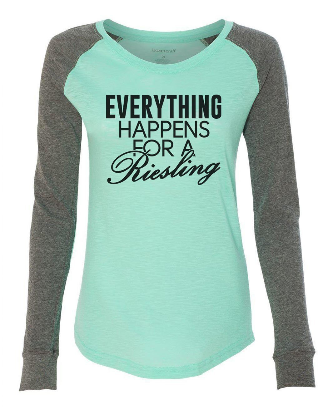 "Womens ""Everything Happens For A Riesling"" Long Sleeve Elbow Patch Contrast Shirt-BurnoutTankTops.com"