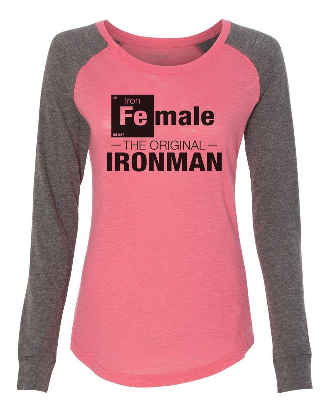 "Womens ""Female - The Original Ironman"" Long Sleeve Elbow Patch Contrast Shirt-BurnoutTankTops.com"