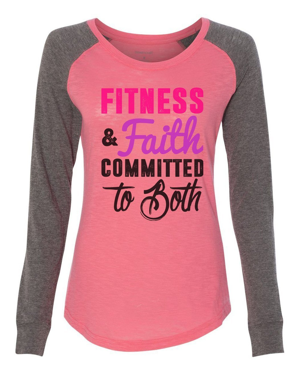"Womens ""Fitness & Faith Committed To Both"" Long Sleeve Elbow Patch Contrast Shirt-BurnoutTankTops.com"