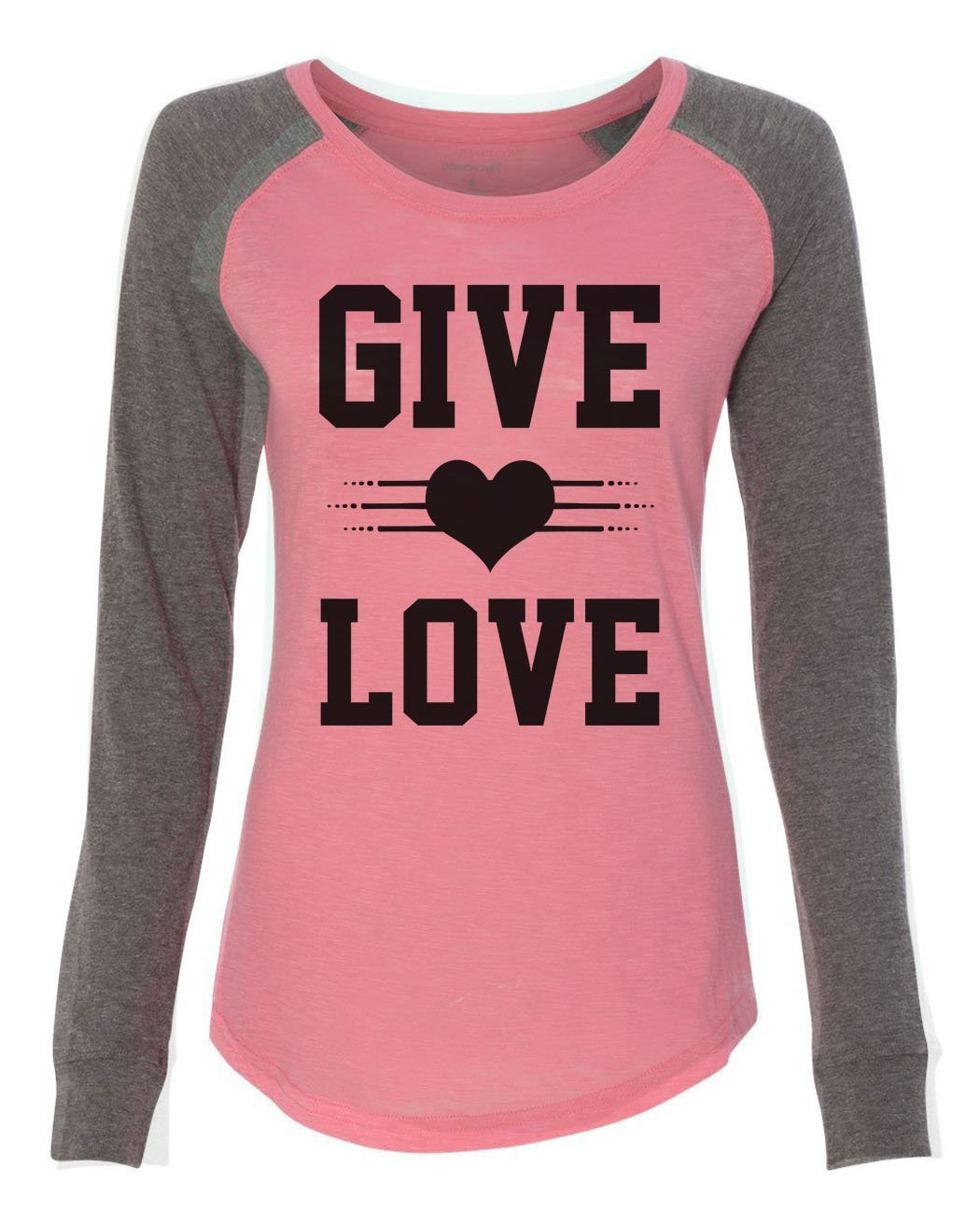"Womens ""Give Love"" Long Sleeve Elbow Patch Contrast Shirt-BurnoutTankTops.com"