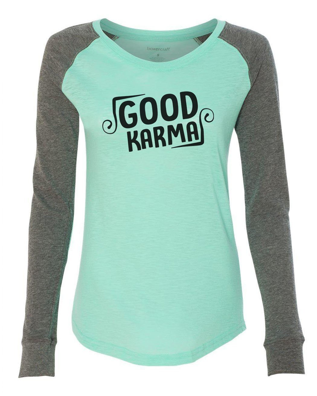 "Womens ""Good Karma"" Long Sleeve Elbow Patch Contrast Shirt-BurnoutTankTops.com"