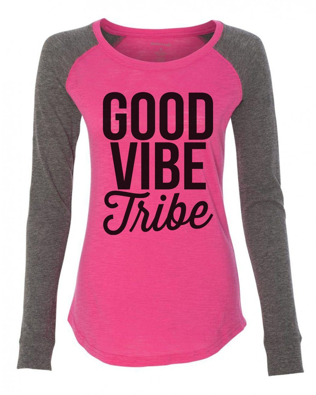 "Womens ""Good Vibe Tribe"" Long Sleeve Elbow Patch Contrast Shirt-BurnoutTankTops.com"