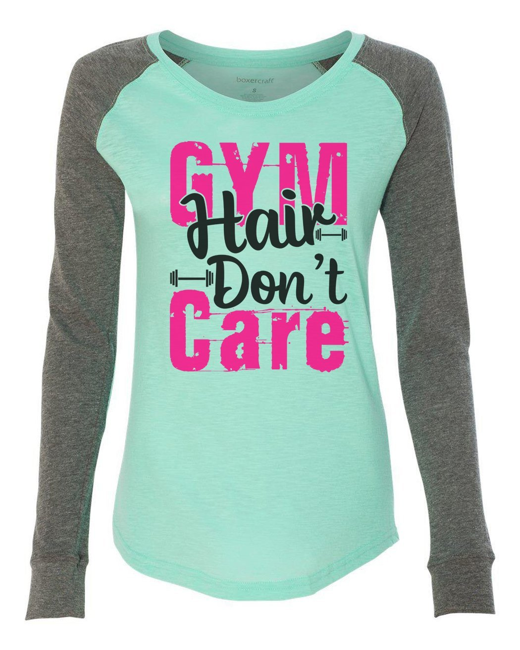 "Womens ""Gym Hair Don't Care"" Long Sleeve Elbow Patch Contrast Shirt-BurnoutTankTops.com"