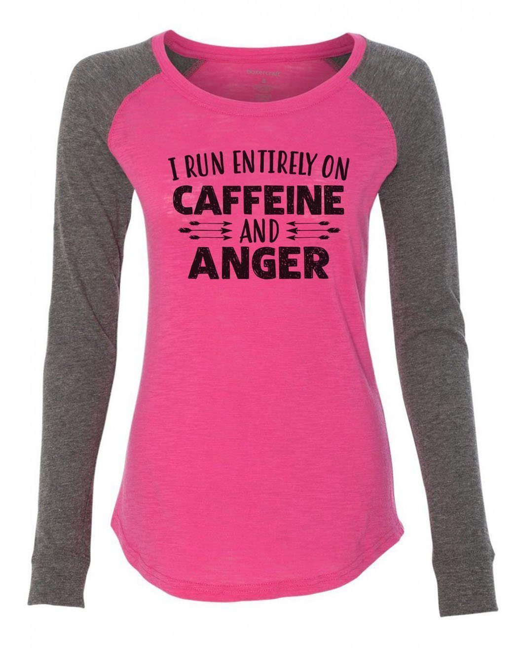 "Womens ""I Run Entirely On Caffeine And Anger"" Long Sleeve Elbow Patch Contrast Shirt-BurnoutTankTops.com"