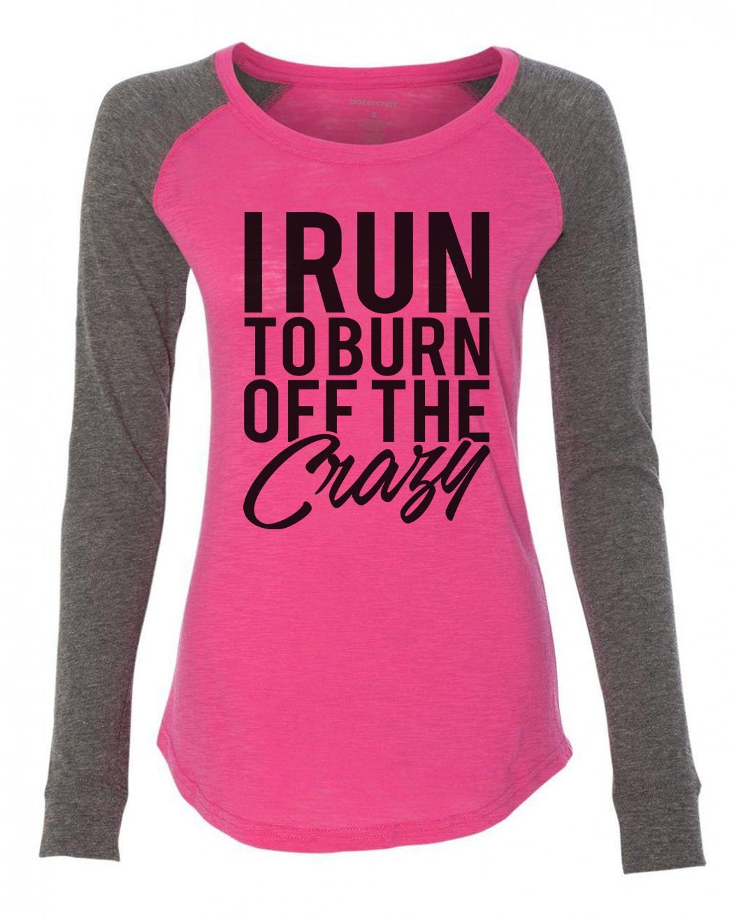 "Womens ""I Run To Burn Off The Crazy"" Long Sleeve Elbow Patch Contrast Shirt-BurnoutTankTops.com"