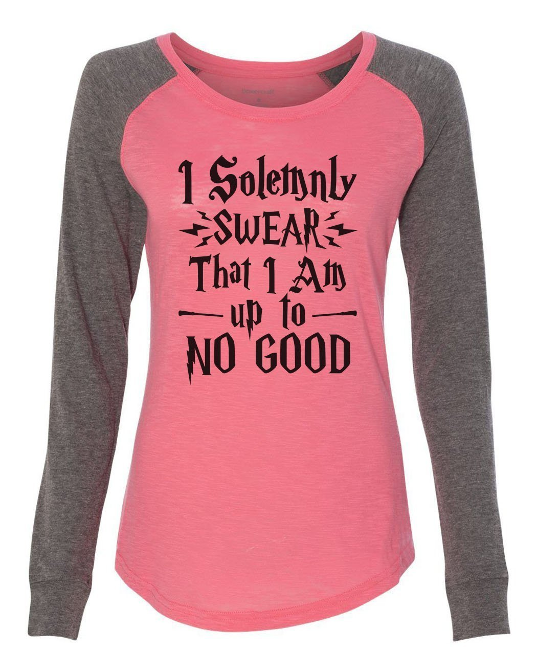 "Womens ""I Solemnly Swear That I Am Up To No Good"" Long Sleeve Elbow Patch Contrast Shirt-BurnoutTankTops.com"