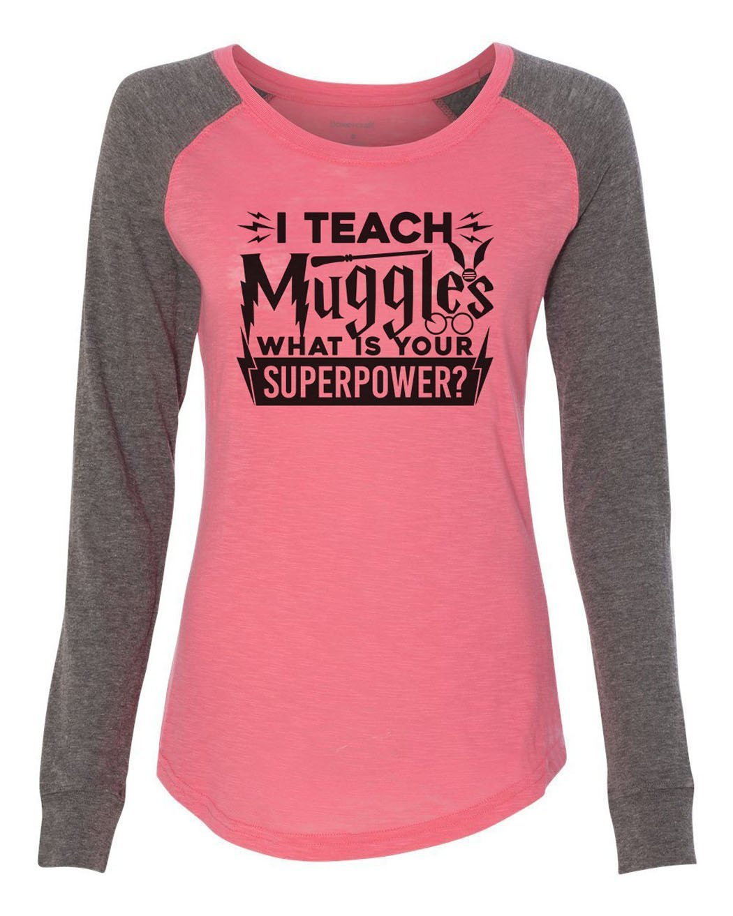 "Womens ""I Teach Muggles What Is Your Superpower"" Long Sleeve Elbow Patch Contrast Shirt-BurnoutTankTops.com"