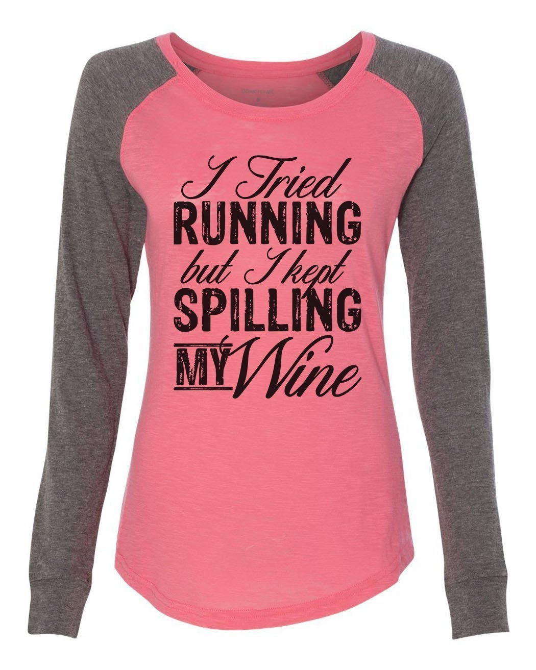 "Womens ""I Tried Running But I Kept Spilling My Wine"" Long Sleeve Elbow Patch Contrast Shirt-BurnoutTankTops.com"