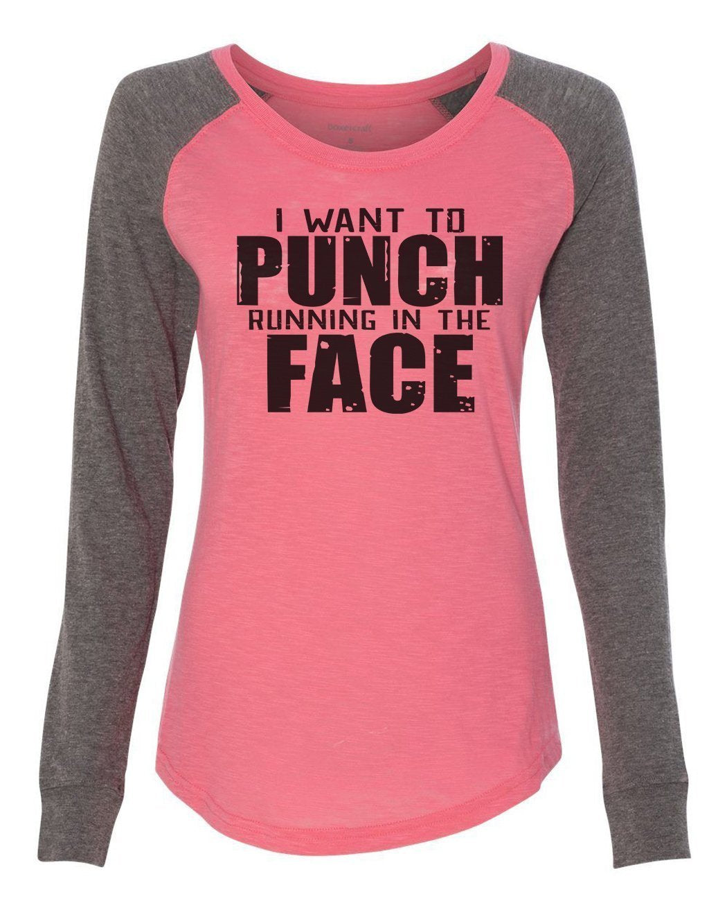 "Womens ""I Want To Punch Running In The Face"" Long Sleeve Elbow Patch Contrast Shirt-BurnoutTankTops.com"