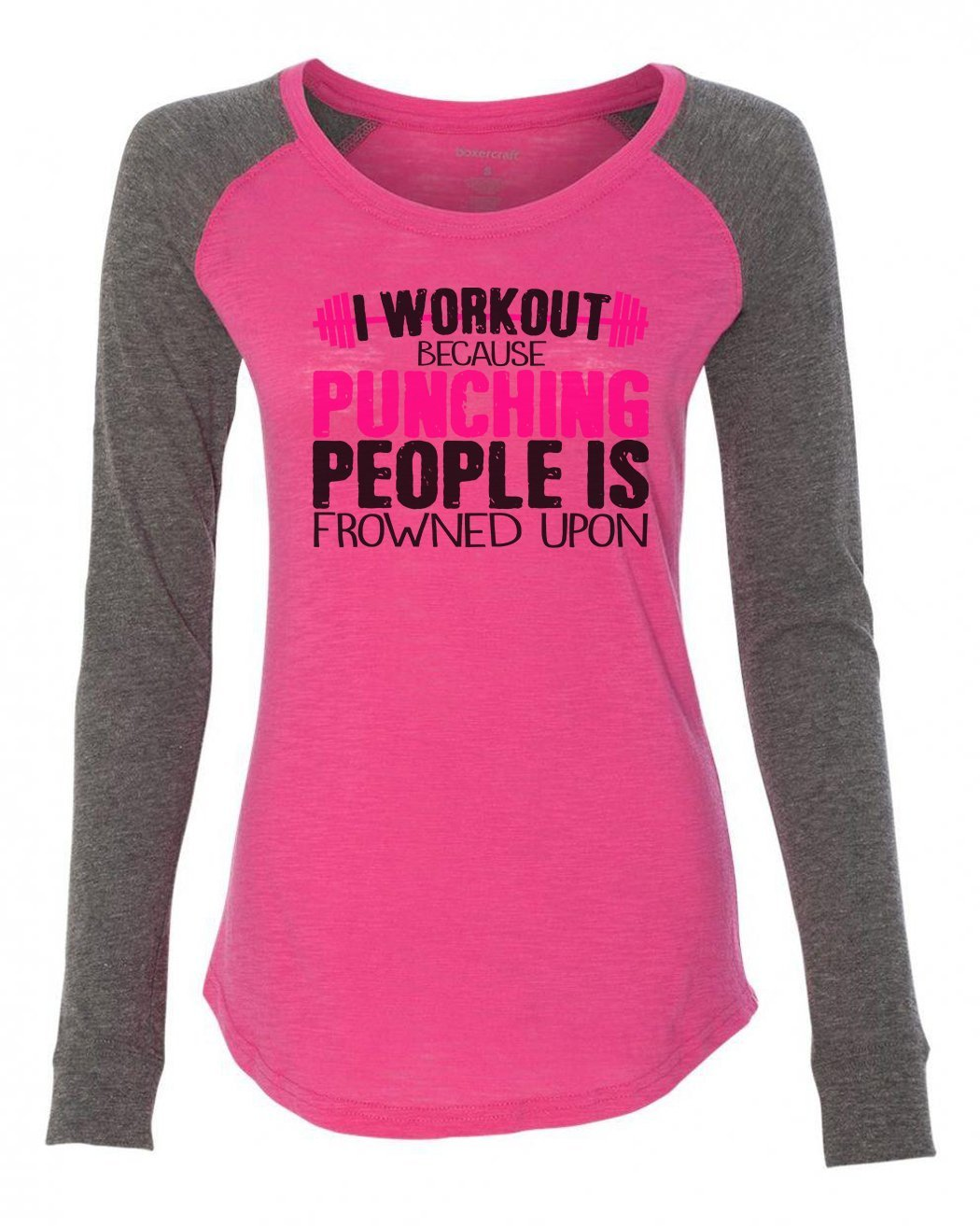"Womens ""I Workout Because Punching People Is Frowned Upon"" Long Sleeve Elbow Patch Contrast Shirt-BurnoutTankTops.com"