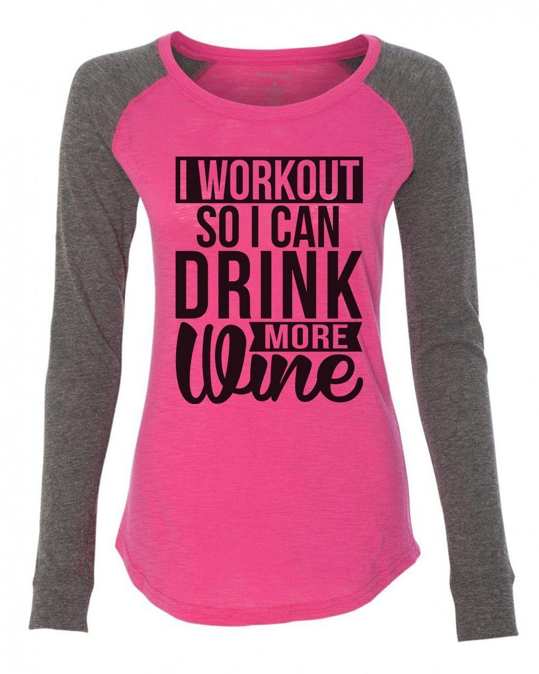 "Womens ""I Workout So I Can Drink More Wine"" Long Sleeve Elbow Patch Contrast Shirt-BurnoutTankTops.com"
