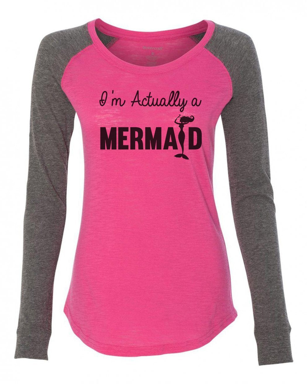 "Womens ""I'm Actually A Mermaid"" Long Sleeve Elbow Patch Contrast Shirt-BurnoutTankTops.com"