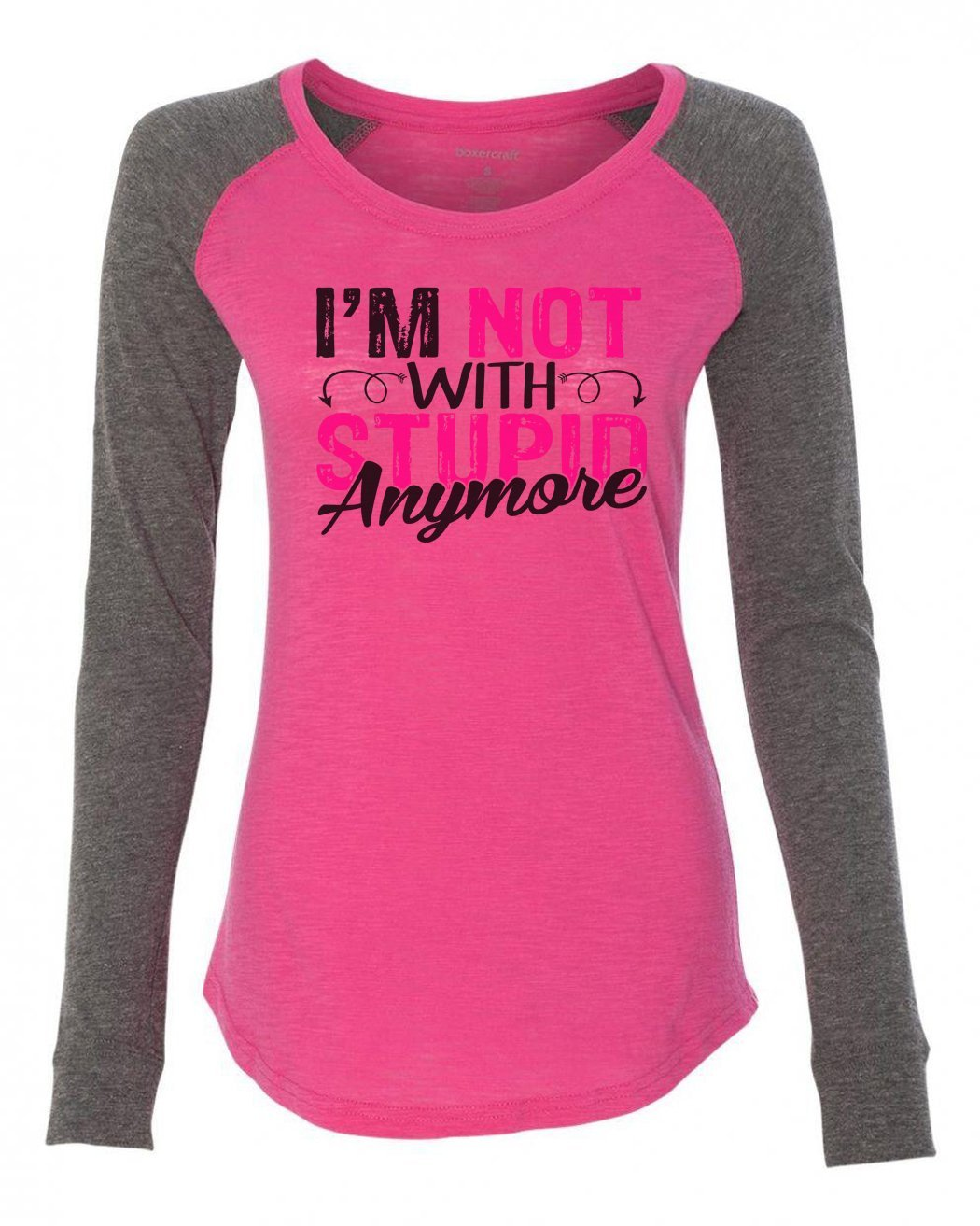 "Womens ""I'm Not With Stupid Anymore"" Long Sleeve Elbow Patch Contrast Shirt-BurnoutTankTops.com"