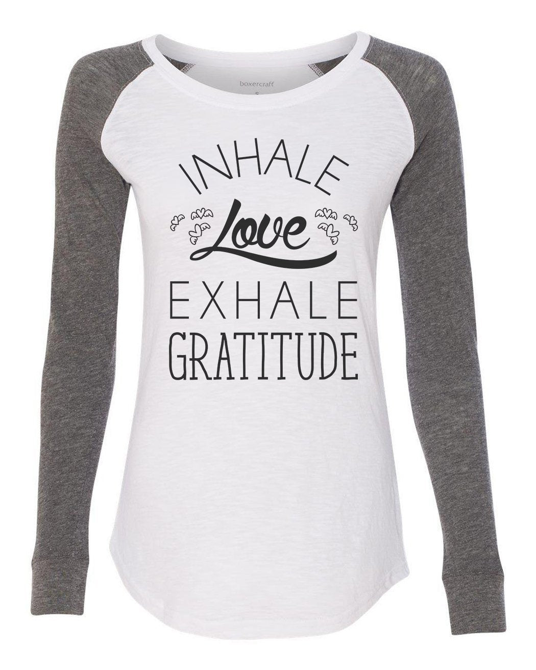 "Womens ""Inhale Love Exhale Gratitude"" Long Sleeve Elbow Patch Contrast Shirt-BurnoutTankTops.com"