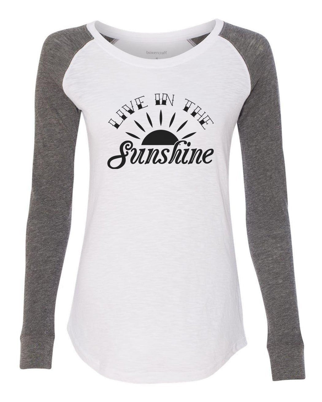"Womens ""Live In The Sunshine"" Long Sleeve Elbow Patch Contrast Shirt-BurnoutTankTops.com"