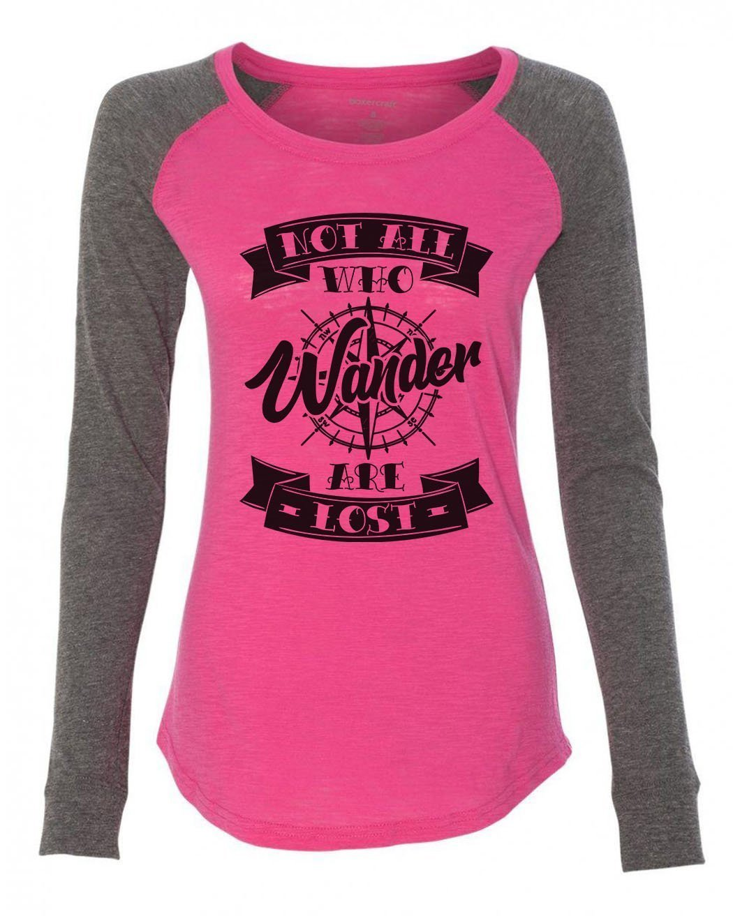 "Womens ""Not All Who Wander Are Lost"" Long Sleeve Elbow Patch Contrast Shirt-BurnoutTankTops.com"