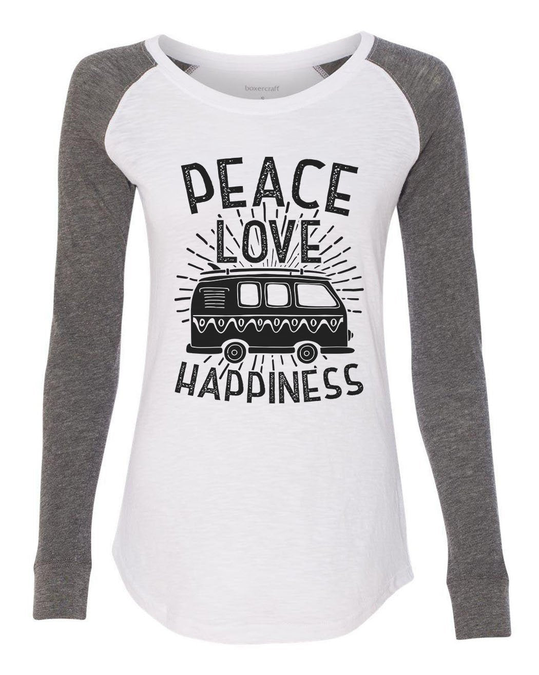 "Womens ""Peace Love Happiness"" Long Sleeve Elbow Patch Contrast Shirt-BurnoutTankTops.com"
