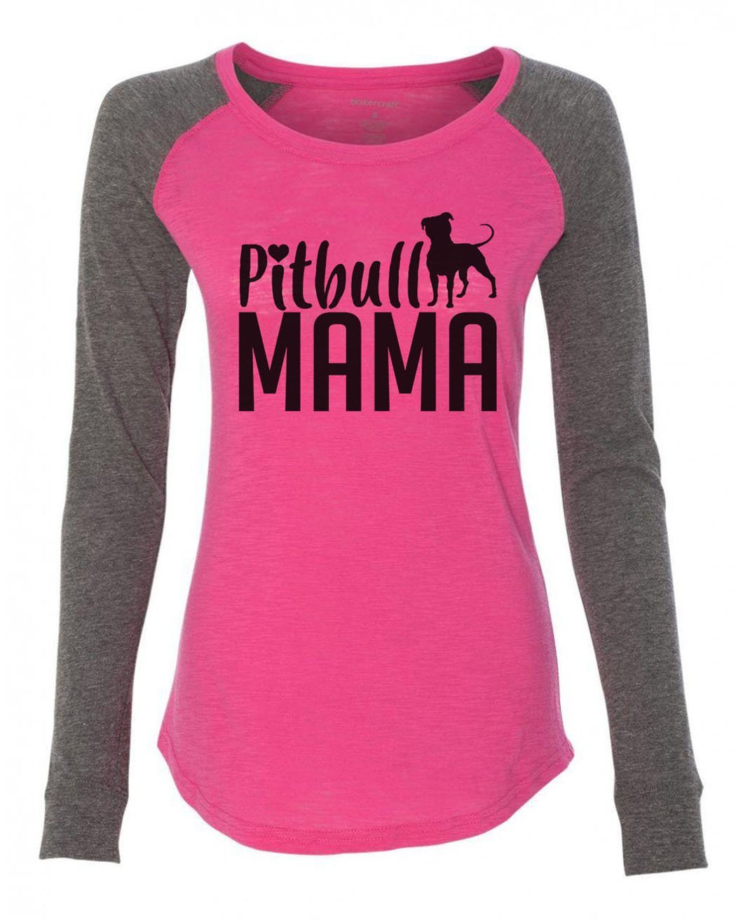 "Womens ""Pitbull Mama"" Long Sleeve Elbow Patch Contrast Shirt-BurnoutTankTops.com"