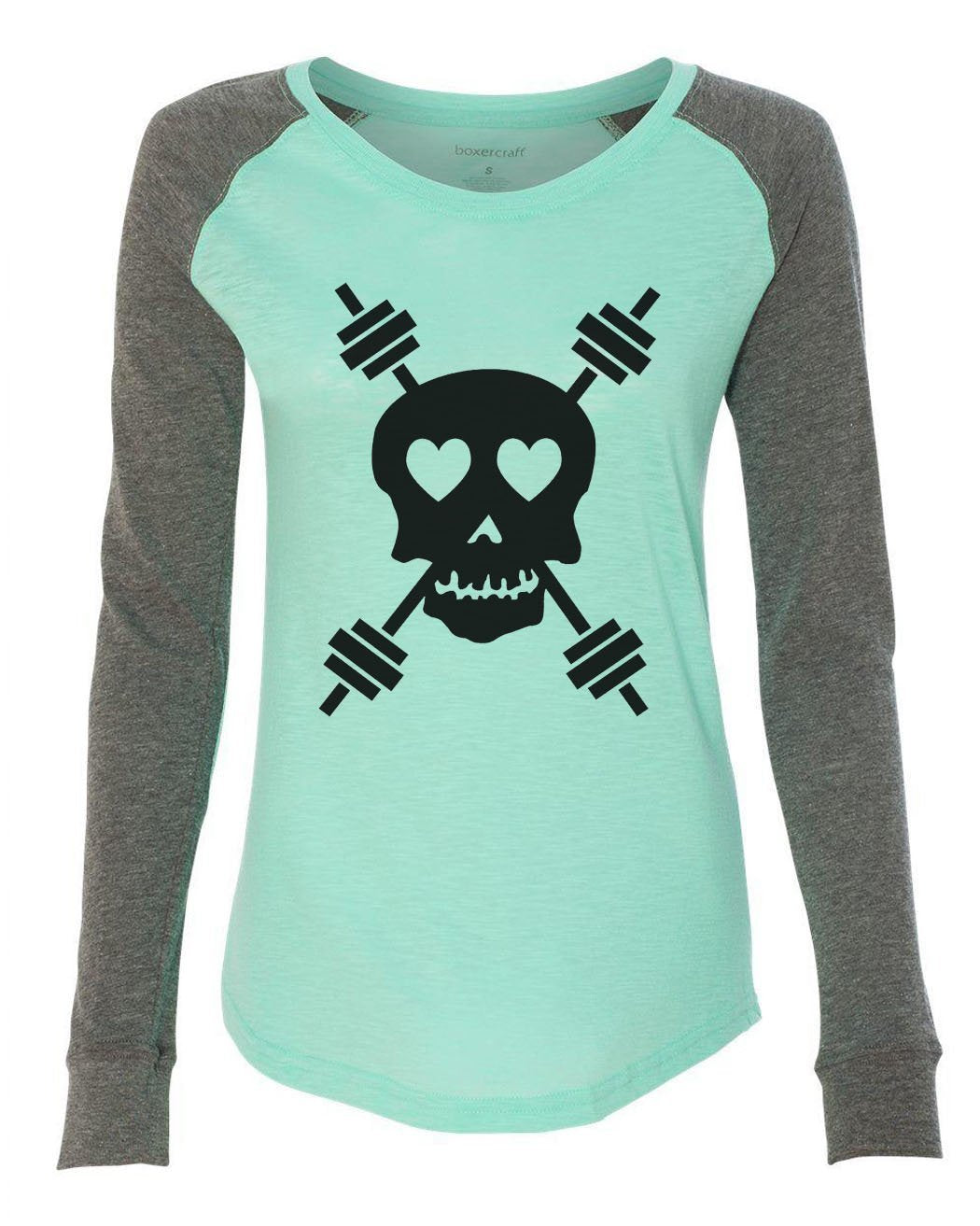 "Womens ""Skull"" Long Sleeve Elbow Patch Contrast Shirt-BurnoutTankTops.com"