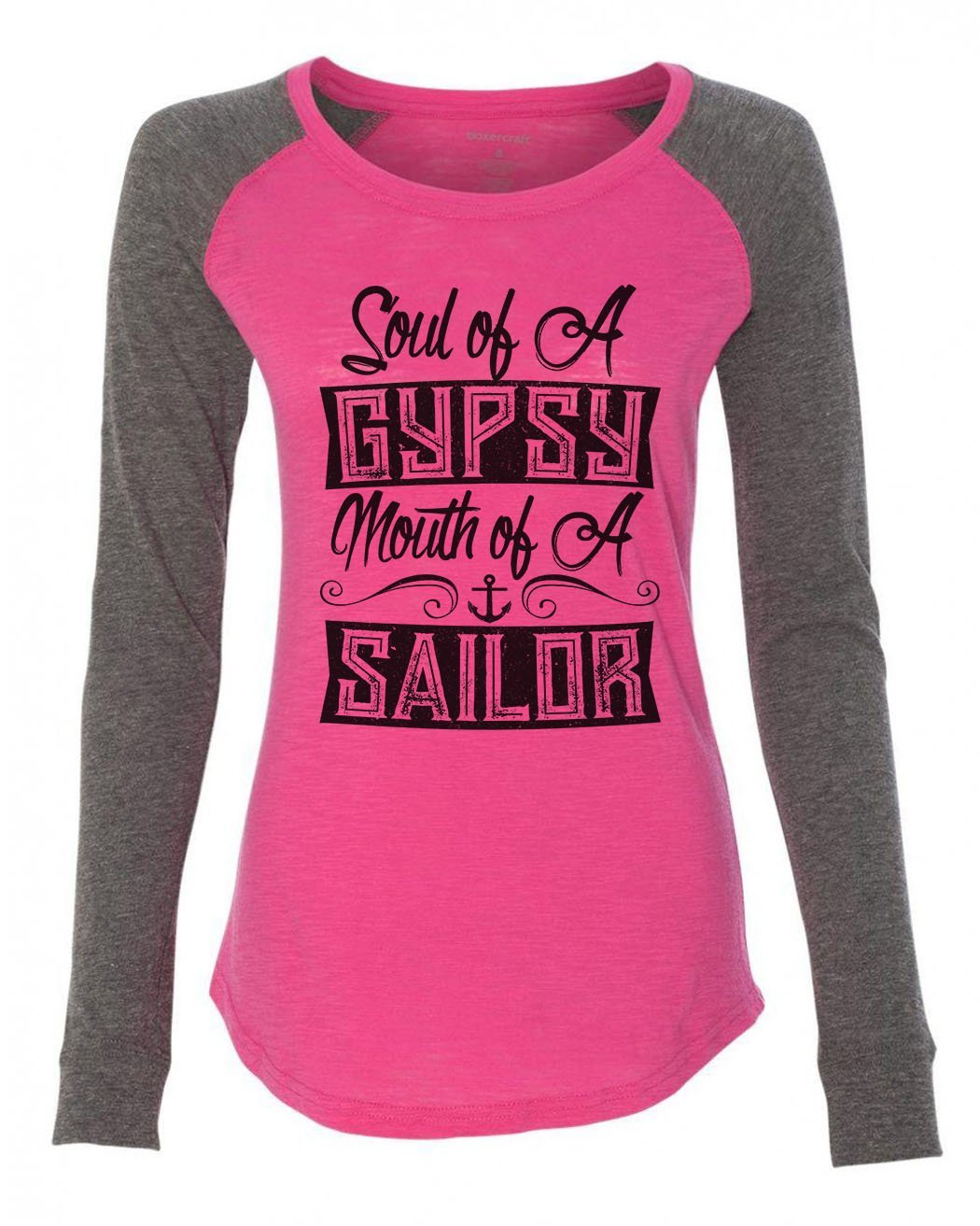 "Womens ""Soul Of A Gypsy Mouth Of A Sailor"" Long Sleeve Elbow Patch Contrast Shirt-BurnoutTankTops.com"