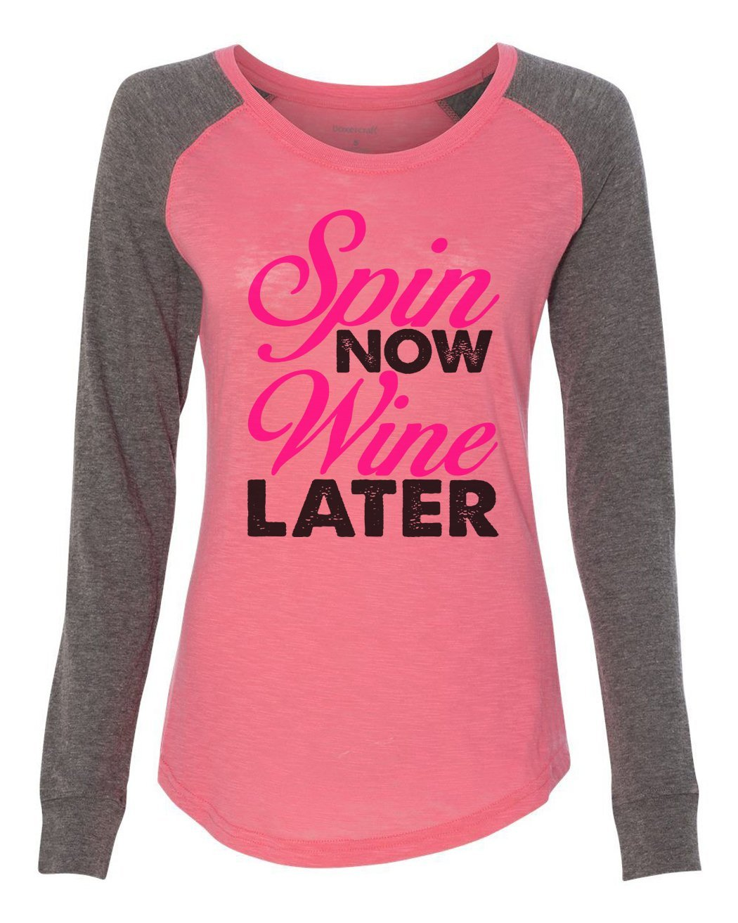 "Womens ""Spin Now Wine Later"" Long Sleeve Elbow Patch Contrast Shirt-BurnoutTankTops.com"