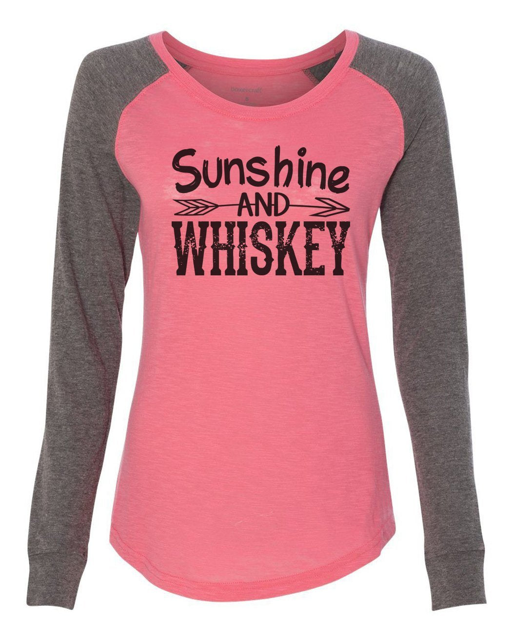 "Womens ""Sunshine And Whiskey"" Long Sleeve Elbow Patch Contrast Shirt-BurnoutTankTops.com"